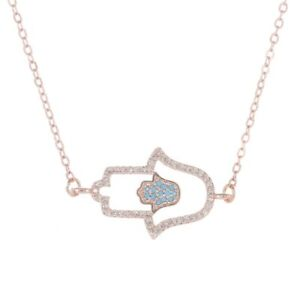 ZARD Hamsa Hand Turquoise CZ Crystals Rose-Gold Good Luck Necklace