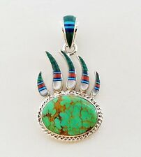 WOW GENUINE BISBEE TURQUOISE MULTICOLOR SPINY INLAY .925 SILVER BEAR PAW PENDANT