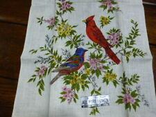 New Vintage Parisian Prints Cardinal Bird Flower Linen Tea Towel Songbird 16x28