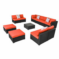 2-11PCS Patio Rattan Wicker Furniture Set Garden Sectional Couch Outdoor Sofa