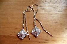 Cubic zirconia gota de largo accesorio plata esterlina 925 Pendientes Colgantes cometa forma
