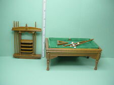Dollhouse Miniature Pool Table wi Access  Walnut #T6676 Town Square 1/12th Scale