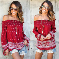 Ladies Boho Off the Shoulder Blouse Top Beach Slouch Baggy Floral Shirt T-shirts