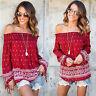 Womens Boho Floral Off Shoulder Blouse Summer Loose Casual Shirts Peasant Tops