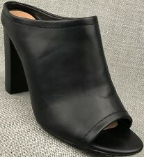 Women's Mossimo Mules Black Chunky Heel Slip Ons Shoes Size 9
