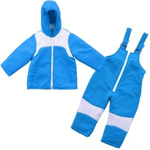 2 PC Insulated Winter Padded Kids Snow Suit Girls Boys Baby All-In-One Ski Blue