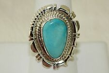 Signed Navajo Sterling Silver Sleeping Beauty Turquoise Ring Size 9