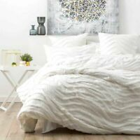 Cloud Linen Wave Cotton White Vintage Quilt Cover Duvet Doona Set All Sizes