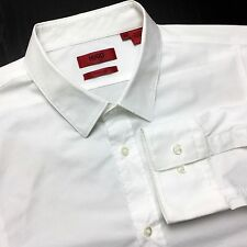 HUGO BOSS Neon Mens XL Slim Solid White Stretch Long Sleeve Narrow Collar Shirt