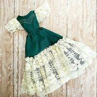 Vintage Barbie Clone Handmade Victorian Dress Green Lace Ball Gown PERFECT OOAK