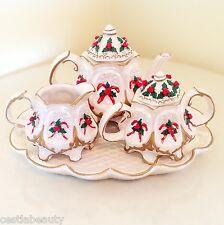 VINTAGE CRACKER BARREL CHRISTMAS CANDY CANE TEA POT SET PEARL PORCELAIN GOLD NEW