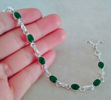 NATURAL OVAL BRAZILIAN EMERALD 925 STERLING SILVER LINK CHAIN BRACELET 7.5""
