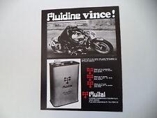 advertising Pubblicità 1972 FLUIDINE e MOTO SUZUKI T 500 TITAN