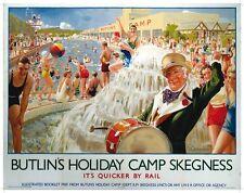 More details for butlins skegness (old rail ad.) large steel sign 400mm x 300mm (og)