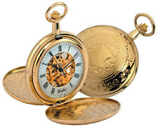 Pocket Watch Woodford Twin Lid Exposed Movement Mechanical 1038