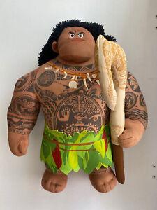 "Disney Moana 14"" Talking Maui Plush Doll with Hook Tested & Works"
