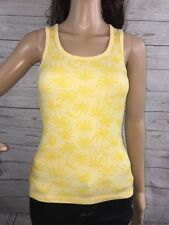 Yellow Palm Tree Print Tank Top XS Casual Summer Beach Shirt Sexy Sleeveless