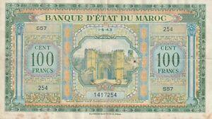 Vintage Morocco WWII Banknote 100 Francs 1943 Pick 27 US Seller