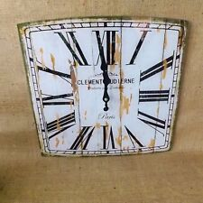 Square Shabby Chic French Vintage White Glass Wall Clock Paris Roman Numerals