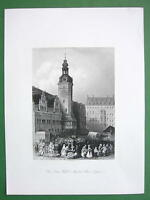 GERMANY Leipzig Town Hall - Antique Print Engraving