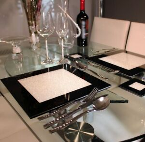 New Set Of Four Black Placemats With Swarovski Crystals Dining Dinner Table
