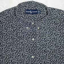 Polo Ralph Lauren Shirt Large Ditsy Floral Short Sleeve Blue White