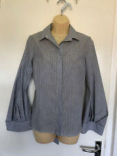 Topshop Grey & White Striped Partially Backless Blouse. UK Size 8. BNWT Cost £36