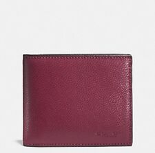 NWT COACH COMPACT ID MEN WALLET IN CROSSGRAIN LEATHER F74974 BLACK CHERRY