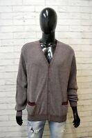 Cardigan Ferrante Uomo Taglia 54 Pullover Felpa Sweater Maglione Lana Bordeaux