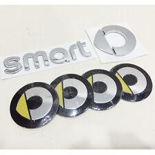 6pcs Smart Letter REAR BADGE Chrome Wheel HubCap Emblem Sticker Car Trunk ForTwo