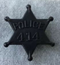 Police Officer Badge Early Low #414 - Metal Star - Obsolete - Rare