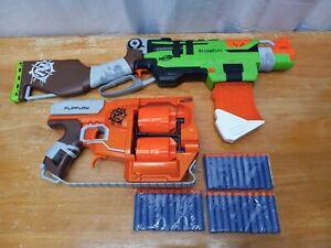 NERF Zombie Strike Slingfire and Flipfury Lot Of 2 Blasters 30 New Darts!