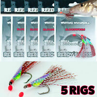 5 Fishing Rig #4 Hook whiting Whispers  Leader Hand Tied Flasher Rig Bait