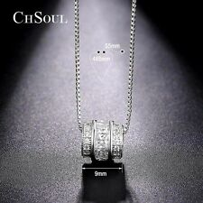Princess Cut Cubic Zirconia Pendant Necklace Link Chain Jewelry Gift for Women