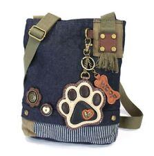 Chala Purse Handbag Denim Canvas Crossbody With Key Chain Tote  Puppy Paw Print