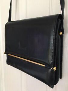 Vintage Italian Leather Crossbody Handbag IleniaT Navy - Gold Tone Hardware.