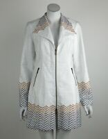 Joseph Ribkoff Jacket Zip Front Textured Collar Chevron Long Sleeves Size 8 New