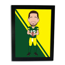 More details for aaron rodgers american football vector hero framed print great gift unofficial