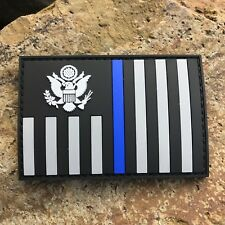 Thin Blue Line Subdued US Customs and Border Protection Ensign Flag PVC Patch