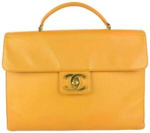 Chanel Orange Caviar Leather CC Logo Briefcase Top Handle Flap Attache 108c26