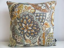 Liberty Patricia Linen Twill Ochre Floral & Teal Velvet Fabric Cushion Cover