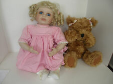 """LIMITED EDITION ANNETTE FUNICELLO 1997 PORCELAIN.24"""" DOLL & 16"""" PEEK A BOO BEAR"""