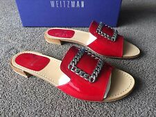 STUART WEITZMAN JACQUI RED PATENT LEATHER SANDALS SHOES WITH CHAIN BUCKLE Sz 7 M