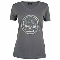 Harley Davidson HD Womens Sturgis Genuine Skull Gray Short Sleeve T-Shirt