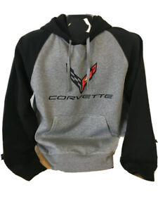 C8 Corvette Pullover Hooded Sweatshirt Gray and Black