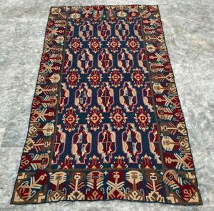 Vintage Handmade Aubusson Rug Needle Point Oriental Blue Wool Kilim Area Rug