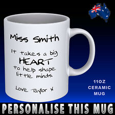 Teacher Big Heart Personalised Names Coffee Mug Cup Novelty Gift Idea  Student