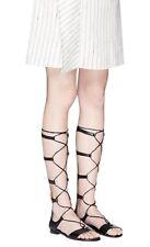 New $225 Michael Kors Sofia Gladiator Tall Leather Sandal Black Brown sz 8