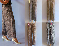 Wide Leg Polyester Regular Size Pants for Women