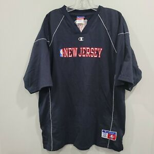 Vintage 90s Champion New Jersey BROOKLYN Nets  Shooting Warm Up Jersey Mens L